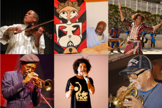 Collaged image of event speakers showing them playing music, rapping and dancing